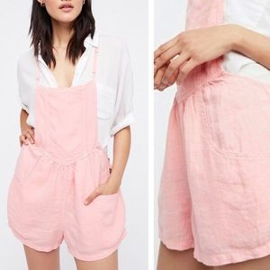 Free People | Light Pink Overall Shorts Linen